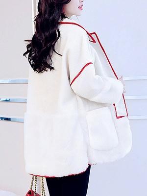 White Long Sleeve Shirt Collar Fur And Shearling Coats_3