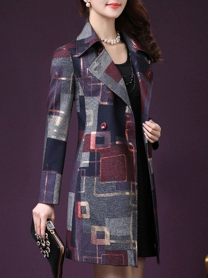 Purple Work Shirt Collar Checkered/Plaid Elegant Coat_4