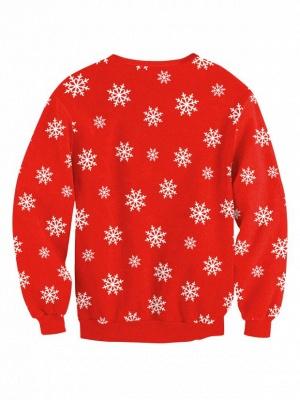 Women's Cute Christmas Elk Snowflake Printed Red Long Sleeves Sweatshirts_3