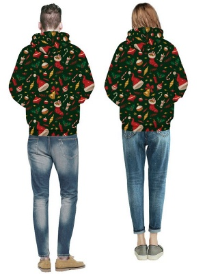 Plus Size Couple Hoodies Green Ugly Christmas Printed Hooded Baseball Clothes for Men/Women_5