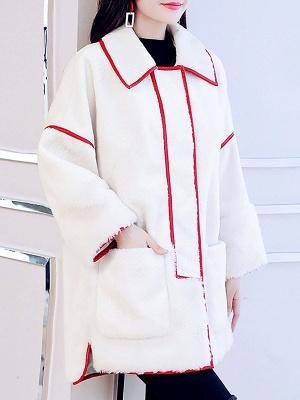 White Long Sleeve Shirt Collar Fur And Shearling Coats_4