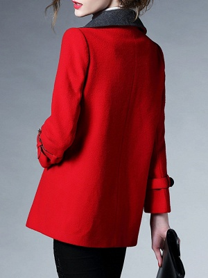 Red Pockets Shift Solid Long Sleeve Coat_6