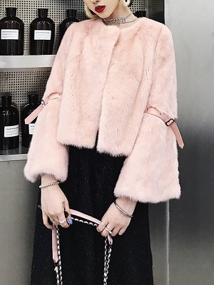 Fluffy Crew Neck Casual Fur And Shearling Coats_1