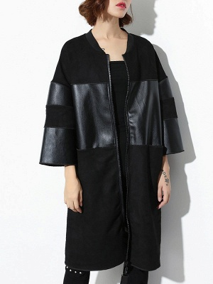 Black PU Paneled Zipper 3/4 Sleeve Coat_4