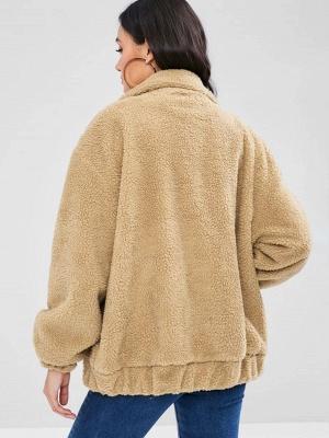 Camel Pockets Zipper Fur and Shearling Coat_3