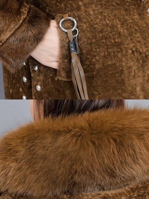 Pockets Buttoned Paneled Fur and Shearling Coat_8