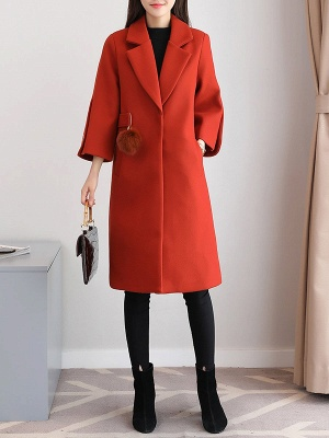 Solid Long Sleeve Casual Coat_10