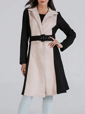 Black Solid Long Sleeve Color-block Coat_1
