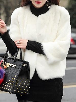 Casual Shift Long Sleeve Fur And Shearling Coats_1