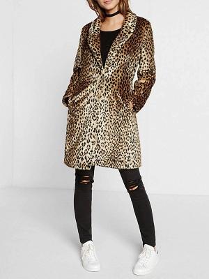 Brown Shawl Collar Leopard Print Fur and Shearling Coat_4
