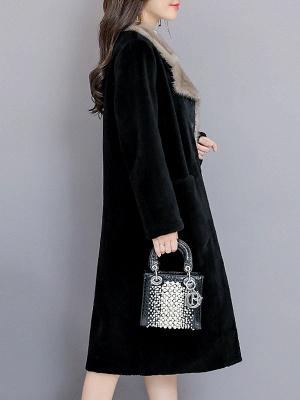 Black Work Lapel Paneled Pockets Fur And Shearling Coats_4