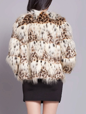 Beige Long Sleeve Shift Fluffy Faux Fur Fur and Shearling Coat_3