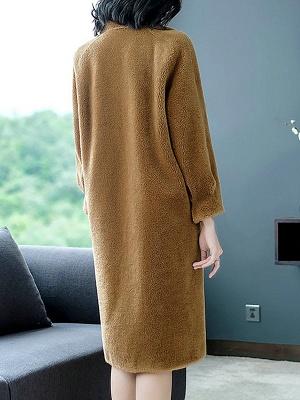 Brown Shawl Collar Casual Fur And Shearling Coats_3