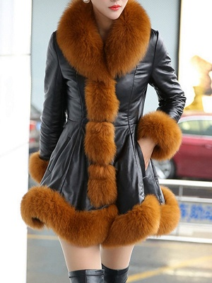 Fluffy Pockets Paneled A-line Fur and Shearling Coat_2