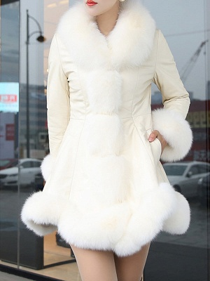 Fluffy Pockets Paneled A-line Fur and Shearling Coat_1