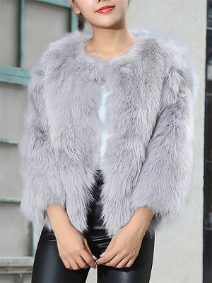 Crew Neck Fluffy Solid Fur and Shearling Coat_2