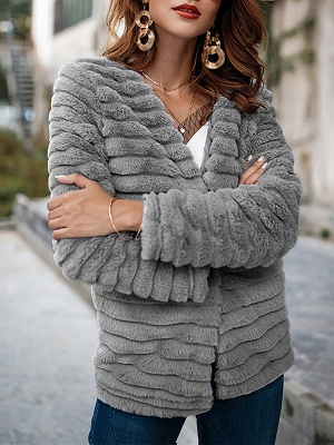 Gray Crew Neck Fluffy  Shift Fur and Shearling Coat_1