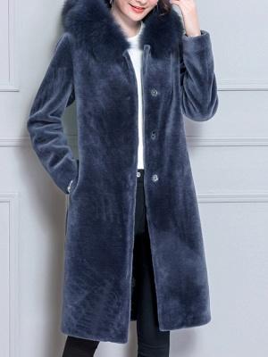 Long Sleeve Pockets Hoodie Shift Casual Fluffy  Coat_3