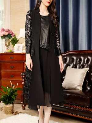 Black Shift Casual Stand Collar Long Sleeve Abstract Coat_1