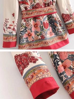 Red Deep V-Neck Long Sleeve Belts Printed Floral Coat_6