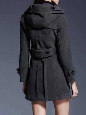 Gray Casual Long Sleeve Hoodie Coat_3