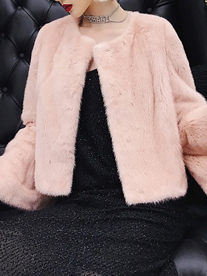 Fluffy Crew Neck Casual Fur And Shearling Coats_7