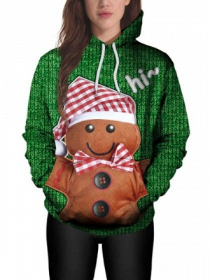Couple's Christmas Hoodies Green Gingerbread Man Printed Casual Hooded Clothes for Men/Women_4
