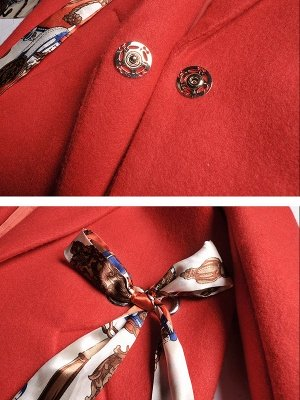 Red Casual Buttoned Lapel Coat_6