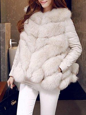 Long Sleeve A-Line Fluffy Elegant Fur And Shearling Coats_2