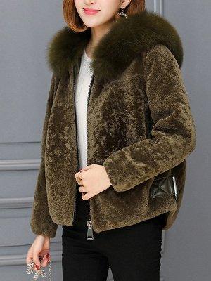 Pockets Zipper Hoodie Fluffy Fur and Shearling Coat_11