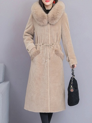 Hoodie Solid Long Sleeve Casual Fur And Shearling Coats_3