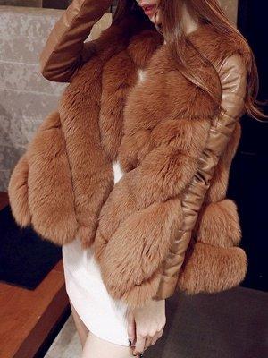 Long Sleeve A-Line Fluffy Elegant Fur And Shearling Coats_1