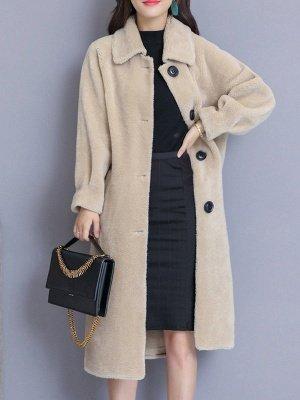 Solid Pockets Long Sleeve Casual Fur And Shearling Coats_3