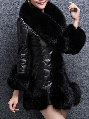 Fluffy Pockets Buttoned A-line Fur and Shearling Coat_4