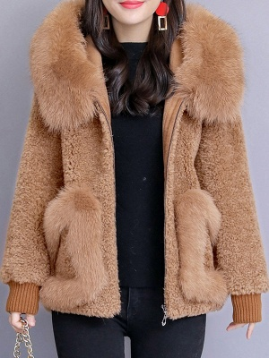 Hoodie Paneled Fluffy Solid Fur And Shearling Coats_2