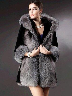 Black Casual Hoodie Fur And Shearling Coats_1
