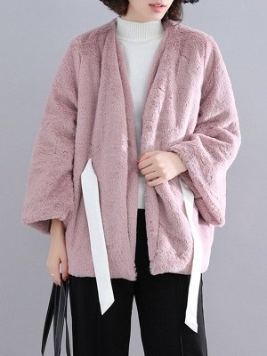 Casual Solid Crew Neck Fur And Shearling Coats_3