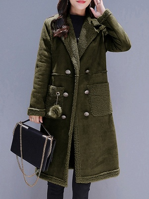 Long Sleeve Lapel Buttoned Fur And Shearling Coats_2