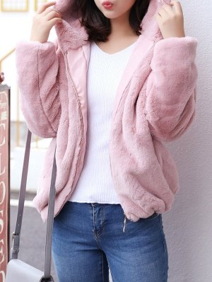 Pink Pockets Hoodie Casual Fur And Shearling Coats_1