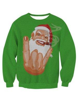 Women's Green Cartoon Santa Claus Printed Long Sleeves Casual Christmas Sweatshirt_1