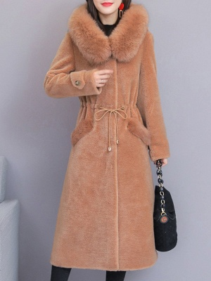 Hoodie Solid Long Sleeve Casual Fur And Shearling Coats_1