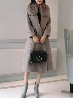 Gray Elegant A-Line Hoodie Fur And Shearling Coats_4