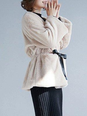 Long Sleeve Pockets Crew Neck Fur And Shearling Coats_4