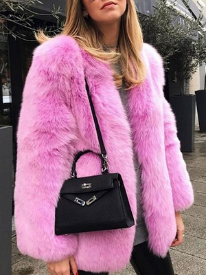 Long Sleeve Casual Fluffy  Fur and Shearling Coat_1
