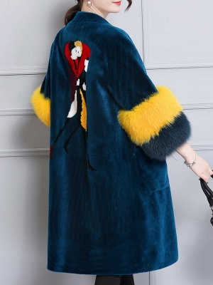 Embroidered Paneled Fur and Shearling Coat_4