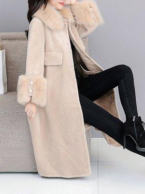 Women's Winter Faux Fur Shearling Coats With Fur Collar_9