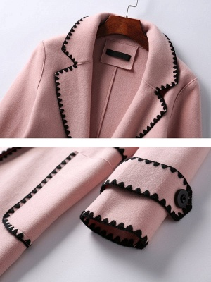 Pink Embroidered Long Sleeve Shift Coat_7