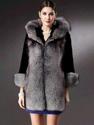 Black Casual Hoodie Fur And Shearling Coats_5