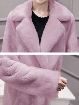 Shawl Collar Casual Long Sleeve Fur and Shearling Coat_8
