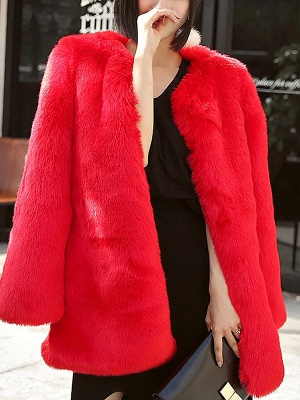 Long Sleeve Casual Fluffy  Fur and Shearling Coat_2